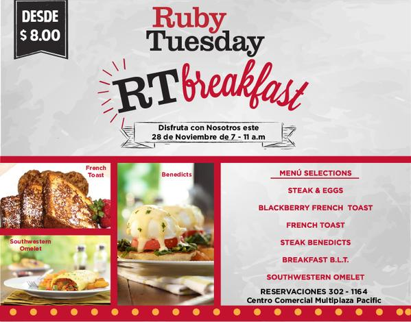 Desayunos desde $8 en RT Tuesday en el Black Friday